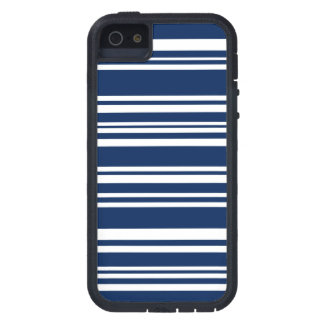 Modern Mixed Navy and White Stripes Case For The iPhone 5