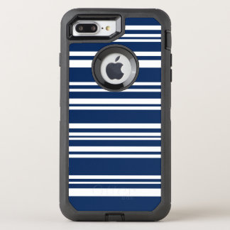 Modern Mixed Navy and White Stripes OtterBox Defender iPhone 7 Plus Case