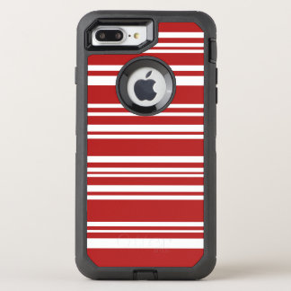 Modern Mixed Red and White Stripes OtterBox Defender iPhone 7 Plus Case