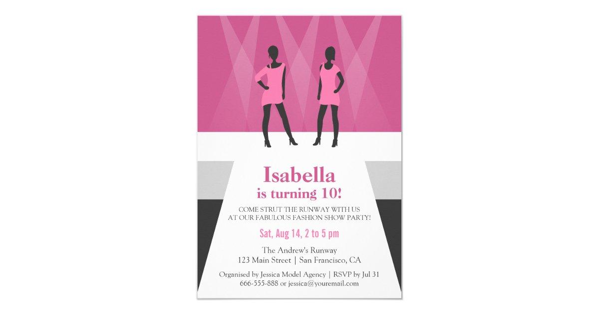 Modern Models Runway Fashion Show Birthday Party Card   Zazzle.ca