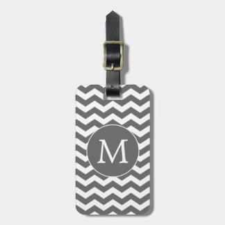Modern Modern Dark Gray White Chevron Stripes Bag Tag