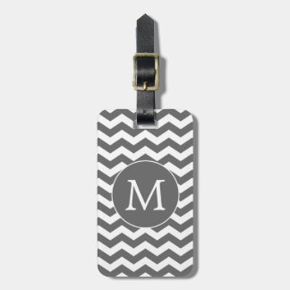 Modern Modern Dark Gray White Chevron Stripes Luggage Tag