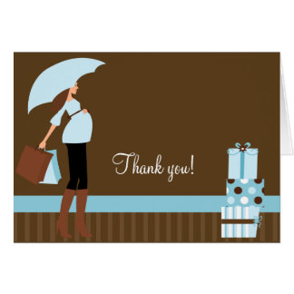 Modern Mom Blue / Brown Folded Thank you notes
