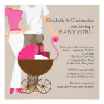 Modern Mom Dad Carriage Couple Baby Shower Personalized Invitation