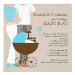 Modern Mom Dad Carriage Couple Baby Shower Invite