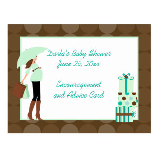 Modern Mom (Green) Baby Shower Advice Cards Postcard
