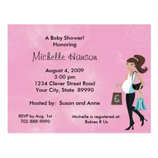 Modern Mom Pink Baby Shower Invitation Postcard
