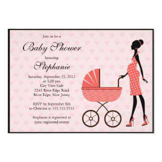 Modern Mom to Be Girl  Carriage Baby Shower Card