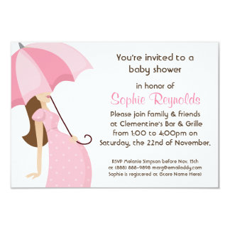 "Modern Mommy Pink Baby Shower - Girl 3.5"" X 5"" Invitation Card"