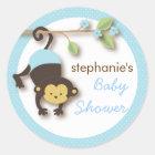 Modern Monkey Sweet Boy Baby Shower in Blue Classic Round Sticker
