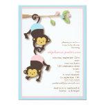 "Modern Monkey Twin Girl & Boy Baby Shower 5"" X 7"" Invitation Card"