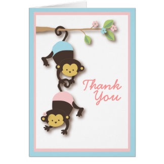 Modern Monkey Twin Girl & Boy Thank You Card