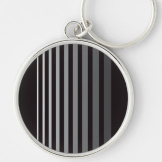 Modern Monochrome Gradient Vertical Stripes Keychain