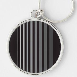 Modern Monochrome Gradient Vertical Stripes Silver-Colored Round Keychain