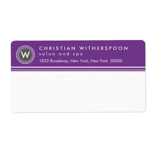 Modern Monogram Aesthetic Purple Custom Shipping Label