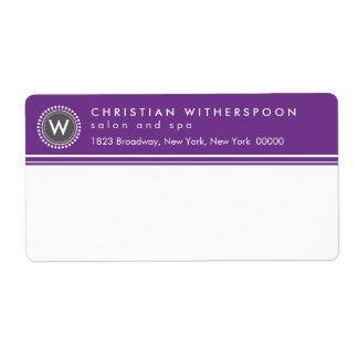 Modern Monogram Aesthetic Purple Shipping Label