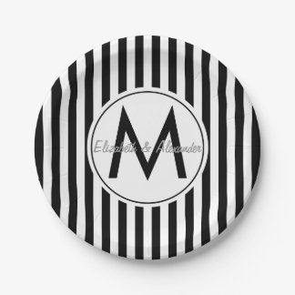 Modern Monogram and Names Custom Striped Paper Plate