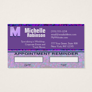 Modern Monogram Appointment Reminder Business Card