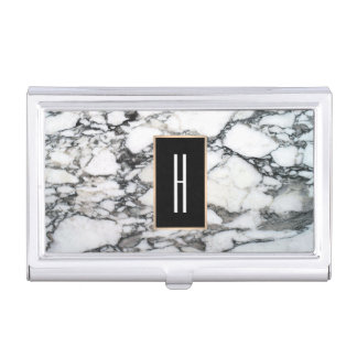 Modern Monogram, Black and White Marble Business Card Holder