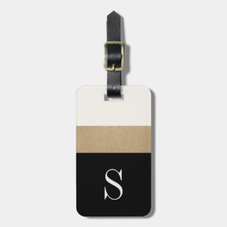Modern Monogram Black Gold Stripe Luggage Tag