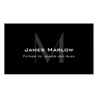 Modern Monogram Black Grey Daddy Calling Card Pack Of Standard Business Cards