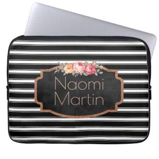 Modern Monogram Black White Stripes | Rose Gold Laptop Sleeve