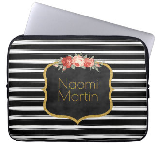 Modern Monogram Black White Stripes | Roses Gold Laptop Sleeve