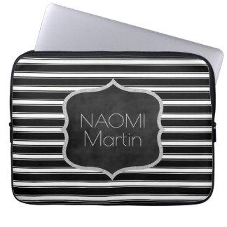 Modern Monogram | Chic Black & White Stripes Laptop Sleeve