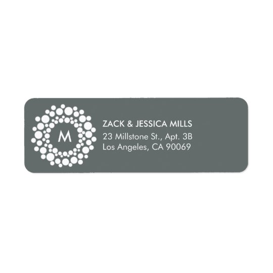 Modern Monogram Christmas Return Address Label