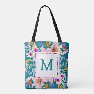 Modern Monogram Floral  Teal Elegant Tote Bag