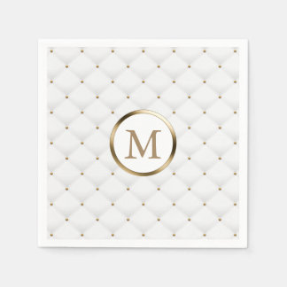 Modern Monogram Gold Initial Luxury White Quilted Disposable Napkin