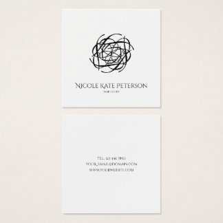 Modern Monogram Hair Stylist Square Business Card