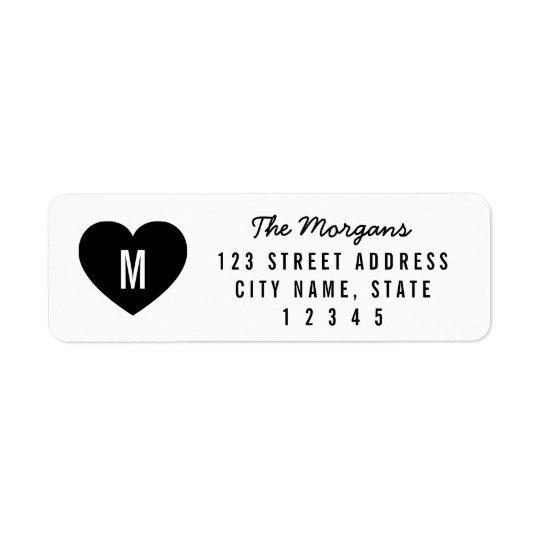 Modern Monogram Heart Family Home Address Return Address Label