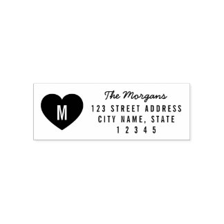 Modern Monogram Heart Family Home Address Self-inking Stamp