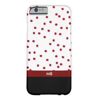 Modern Monogram In Red Black And White Barely There iPhone 6 Case