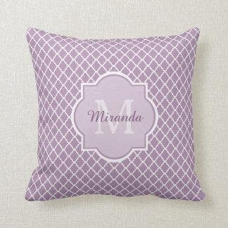 Modern Monogram Light Purple Quatrefoil With Name Pillows