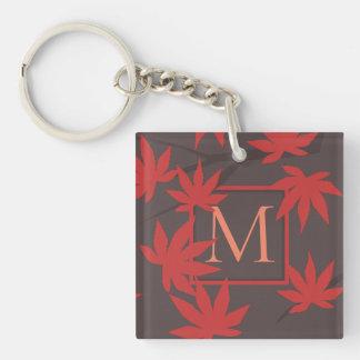 Modern Monogram Maple Leaf Keychain
