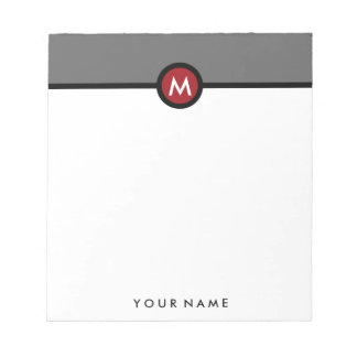 Modern Monogram Memo Note Pad - Black/Red/Gray