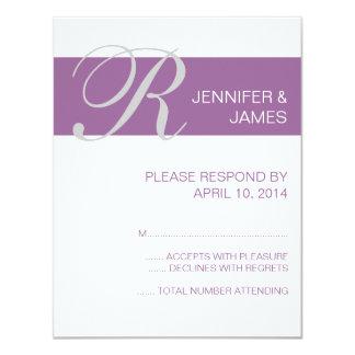 Modern Monogram Names RSVP Cards Purple Invites