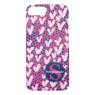 Modern Monogram Navy Purple Hearts and Polka Dots iPhone 8/7 Case
