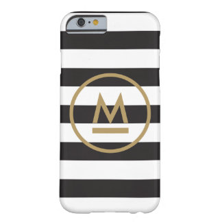 Modern Monogram on Bold Stripes Personalized Barely There iPhone 6 Case