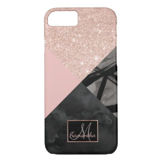 Modern monogram pink black watercolor color block iPhone 8/7 case