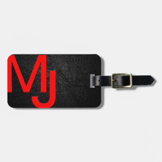 Modern Monogram Red Black Leather Luggage Tag