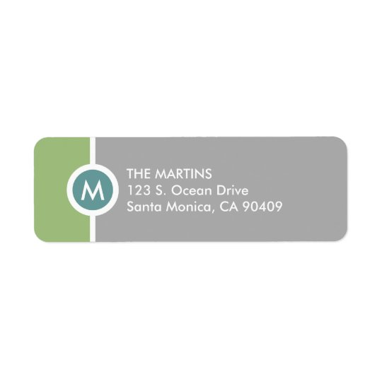 Modern Monogram Return Address Label - Green/Grey