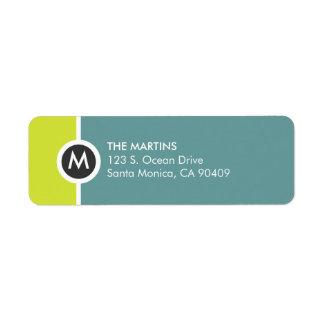 Modern Monogram Return Address Label - Yellow/Blue