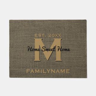 Modern Monogram Rustic Burlap Family Logo Doormat