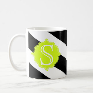 Modern Monogram Striped Coffee Mug