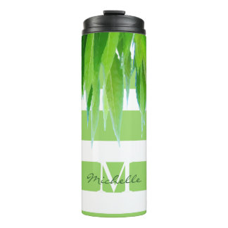 Modern Monogram Stripes & Leaves Thermal Tumbler