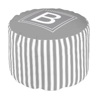 Modern Monogram Stripes Pattern, Gray Pouf