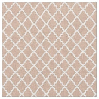 Modern Monogram Tan and White Quatrefoil Pattern Fabric